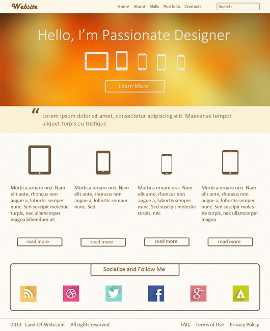 Freebie: Warm Landing Page PSD